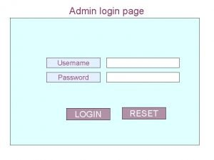 Admin login page Username Password LOGIN RESET Menu