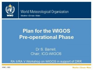 WMO Plan for the WIGOS Preoperational Phase Dr