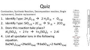 Quiz Combustion Synthesis Reaction Decomposition reaction Single replacement