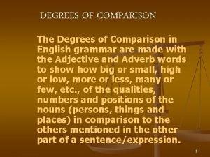 DEGREES OF COMPARISON The Degrees of Comparison in