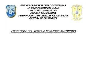 REPUBLICA BOLIVARIANA DE VENEZUELA LA UNIVERSIDAD DEL ZULIA