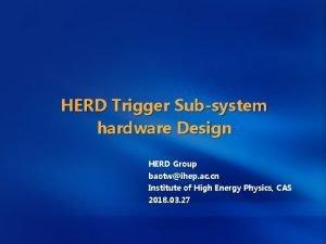 HERD Trigger Subsystem hardware Design HERD Group baotwihep