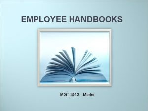 EMPLOYEE HANDBOOKS MGT 3513 Marler Overview of discussion