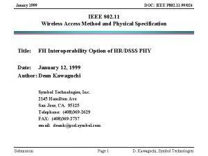 Janary 1999 DOC IEEE P 802 11 99024