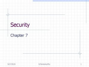 Security Chapter 7 9172020 B Ramamurthy 1 Introduction