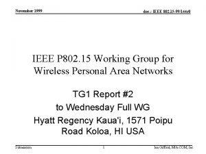 November 1999 doc IEEE 802 15 99144 r