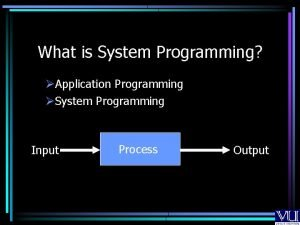 What is System Programming Application Programming System Programming