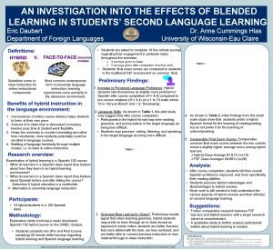 AN INVESTIGATION INTO THE EFFECTS OF BLENDED LEARNING