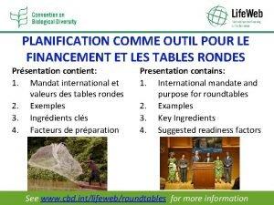 PLANIFICATION COMME OUTIL POUR LE FINANCEMENT ET LES