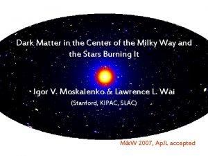 Dark Matter in the Center of the Milky