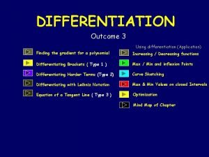 DIFFERENTIATION Outcome 3 Using differentiation Application Finding the
