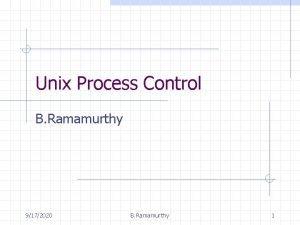 Unix Process Control B Ramamurthy 9172020 B Ramamurthy