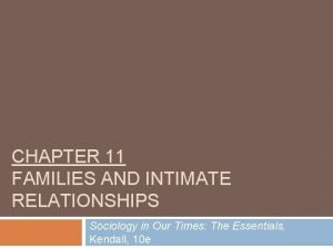 CHAPTER 11 FAMILIES AND INTIMATE RELATIONSHIPS Sociology in