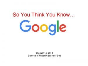 So You Think You Know October 14 2016
