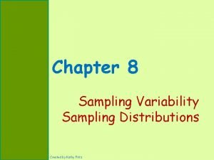 Chapter 8 Sampling Variability Sampling Distributions Created by