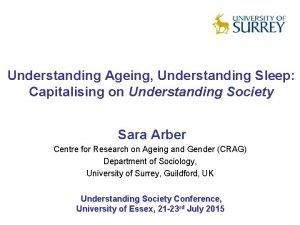Understanding Ageing Understanding Sleep Capitalising on Understanding Society