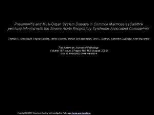 Pneumonitis and MultiOrgan System Disease in Common Marmosets