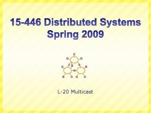 L20 Multicast Multicast Routing Unicast one source to