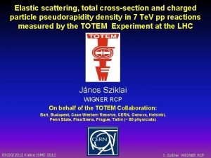 Elastic scattering total crosssection and charged particle pseudorapidity