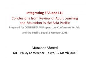 Integrating EFA and LLL Conclusions from Review of