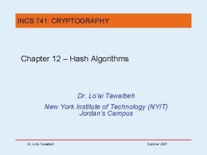 INCS 741 CRYPTOGRAPHY Chapter 12 Hash Algorithms Dr