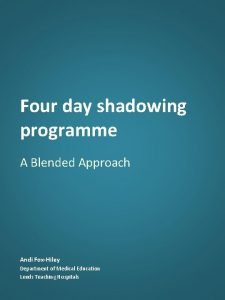 Four day shadowing programme A Blended Approach Andi