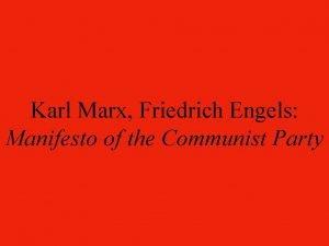 Karl Marx Friedrich Engels Manifesto of the Communist