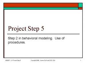 Project Step 5 Step 2 in behavioral modeling