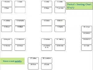 Period 1 Seating Chart 81417 Have a seat