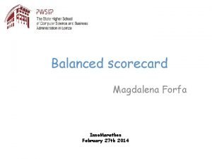 Balanced scorecard Magdalena Forfa Inno Marathon February 27