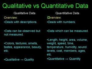 Qualitative vs Quantitative Data Qualitative Data Overview Deals
