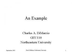 An Example Charles A Di Marzio GEU 110