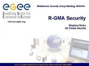 Middleware Security Group Meeting 060504 www euegee org