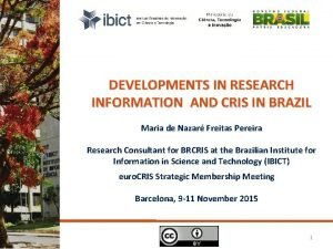 DEVELOPMENTS IN RESEARCH INFORMATION AND CRIS IN BRAZIL