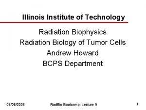 Illinois Institute of Technology Radiation Biophysics Radiation Biology