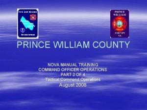 PRINCE WILLIAM COUNTY NOVA MANUAL TRAINING COMMAND OFFICER