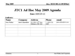May 2009 doc IEEE 802 11 090556 r