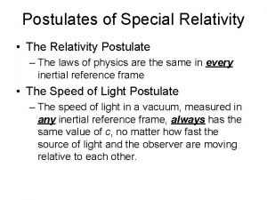 Postulates of Special Relativity The Relativity Postulate The