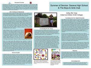 Placement Overview My Summer of Service Americorps placements