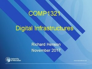 COMP 1321 Digital Infrastructures Richard Henson November 2017
