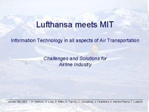 MIT Massachusetts Institute of Technology Lufthansa meets MIT