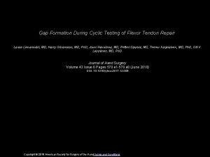 Gap Formation During Cyclic Testing of Flexor Tendon