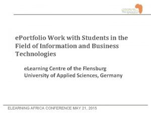 e Portfolio Work with Students in the Field