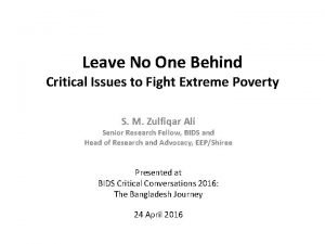 Leave No One Behind Critical Issues to Fight