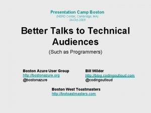 Presentation Camp Boston NERD Center Cambridge MA 24