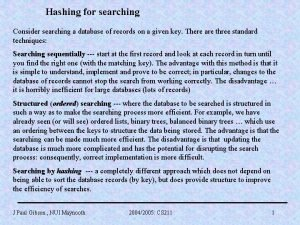 Hashing for searching Consider searching a database of