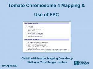 Tomato Chromosome 4 Mapping Use of FPC Copyright