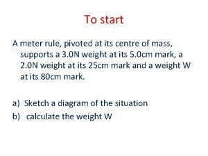 To start A meter rule pivoted at its