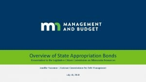 Overview of State Appropriation Bonds Presentation to the