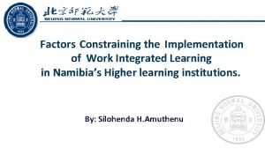 Factors Constraining the Implementation of Work Integrated Learning